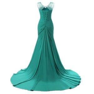 Image 2 - Ruthshen 2019 abiye Mermaid v yaka Cap kollu yeşil boncuklu şifon zarif uzun gece elbisesi balo elbise