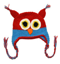 New Cute National Style Cartoon Multicolor Infant Toddler Handmade Knitted Crochet Baby Owl Hat with Earflap Animal Cap