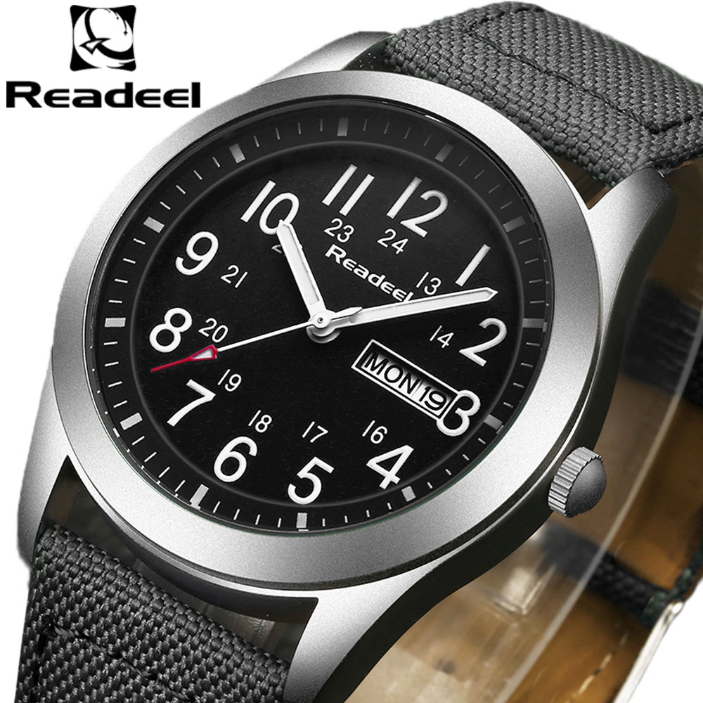 Readeel Luxury Brand Military Watches Men Quartz Analog Canvas Clock Man Sports Watches Army Military Watch Relogios Masculino weide new men quartz casual watch army military sports watch waterproof back light men watches alarm clock multiple time zone