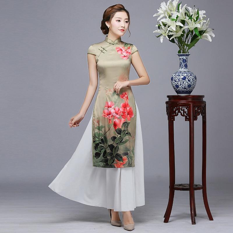 Oversized 3XL Girl Sexy Print Flower Long Qipao Summer Chinese Women Simple Dress Vintage Elegant Vietnam Aodai Cheongsam