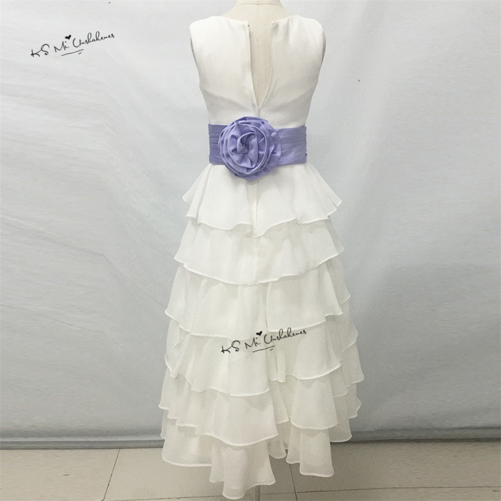 Cheap Lavender White Flower Girl Dresses For Weddings Chiffon Girl
