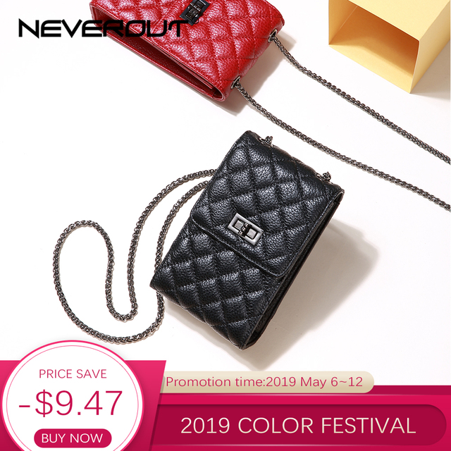 NEVEROUT Women Mini Quilted Bag Genuine Leather Messenger/Shoulder Bag Ladies Cell Phone Purse Crossbody Red/Black Sac a Main