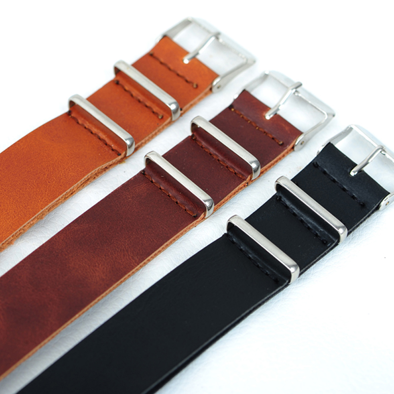 Hot Sale 18MM PU Leather watch band Straps for watch, casual NATO wrist watchband (black brown Dark brown)for choose