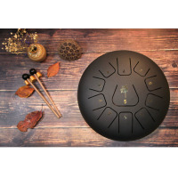 11 Notes12inch Adult Steel Tongue Drum Calm Professional Percussion Drum Chinese Style Instrument With Drum For Music Therapists