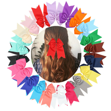 7 Inch classic Girl Boutique Grosgrain Ribbon Bow Elastic Hair Tie Rope Band bows with kids Accessories  pure color