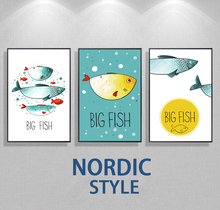Nordic Minimalist Style Cartoon Big Fish Koala bear Fox Animal Poster Canvas Wall Kids Room Home Decoration Combined