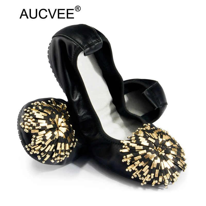 แฟชั่นที่หรูหรารองเท้าปากตื้นผู้หญิงหนังนิ่มสุดแท้T Asselsแฟลตหญิงตั้งครรภ์รองเท้าแฟลตบัลเล่ต์สีชมพูสีดำ