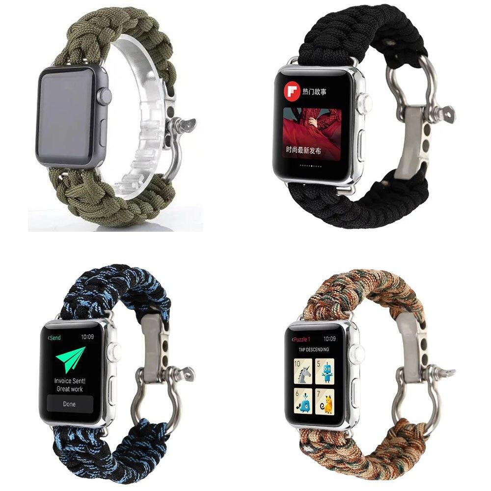 Spor iWatch Apple Için Dokuma Naylon Halat Bileklik Kayışı Watch Band İzle Serisi 1 2 3 Yedek Bant 38mm 42mm