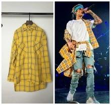 long Sleeve Yellow Tartan plaid shirts mens hip hop shirt streetwear urban clothing men clothes kanye justin bieber style shirt