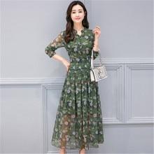 Womens Dresses For Autumn 2019 Long Sleeve A-Line Sweet Print Floral Chiffon Dress V-Neck Fashion Slim summer long 122