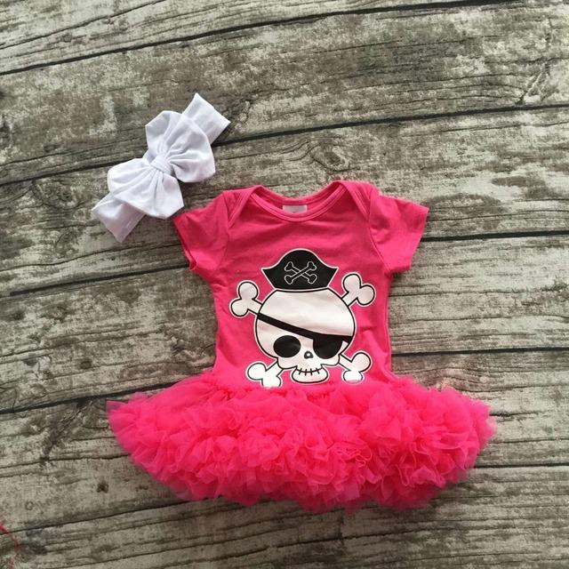 Niñas de Halloween tutu romper infant toddler girls disfraces de Halloween niñas de rosa caliente con el cráneo gasa tutú con diadema