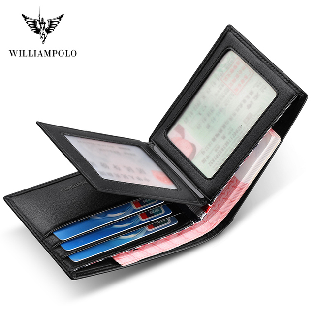Williampolo carteira masculina de couro legítimo, nova carteira masculina compacta feita em couro legítimo, com dobra central e compartimento para cartões 3