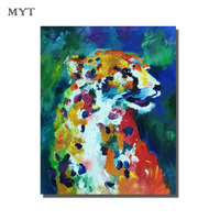 Free Shipping Hand Drawn Abstract Dogs With The Girl Oil Painting On Canvas Pictures Art