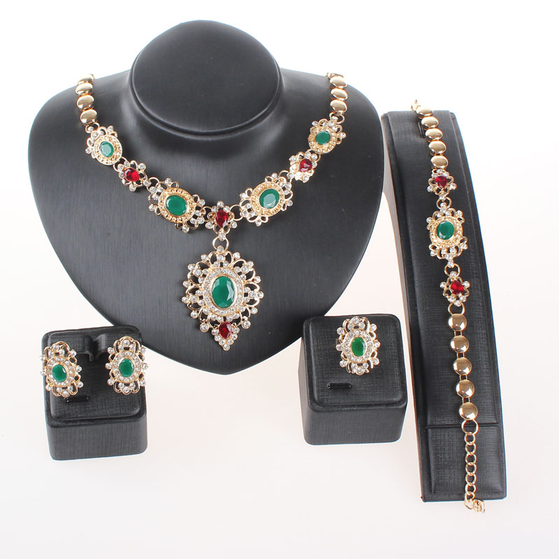 Jewelry Sets For Women Gold Plated Zircon Rhinestone Crystal Wedding Party Bridal Accessories Necklace font b