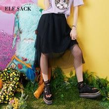 ELF SACK 2019 Summer Skirts Solid Casual Stylish Women Elegant Skirts Mid-Calf Mesh Femme Skirts Streetwear Ladies Bottom s блуза sack s sack s mp002xw1aso2