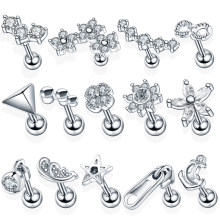 1PC Steel Ear Tragus Cartilage Piercing Crystal Flower Conch Lobe Earrings Barbell Piercing Orelha Ear Stud Helix Sexy Jewelry(China)