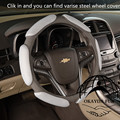 1 pc 38cm Leather Auto Car Steering Wheel Cover Sandwich Fabric Steering Wheel Cover Soft  Anti-slip Four Seasons General Style