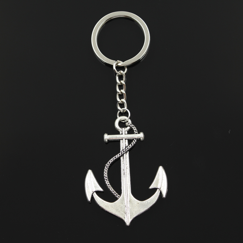 New Fashion Keychain 55x40mm Anchor Sea Pendants DIY Men Jewelry Car Key Chain Ring Holder Souvenir For Gift
