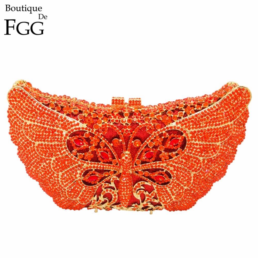 Women s Orange Crystal Rhinestones Animal Box Evening Clutches Wedding Party Cocktail Butterfly Handbag Clutch Shoulder
