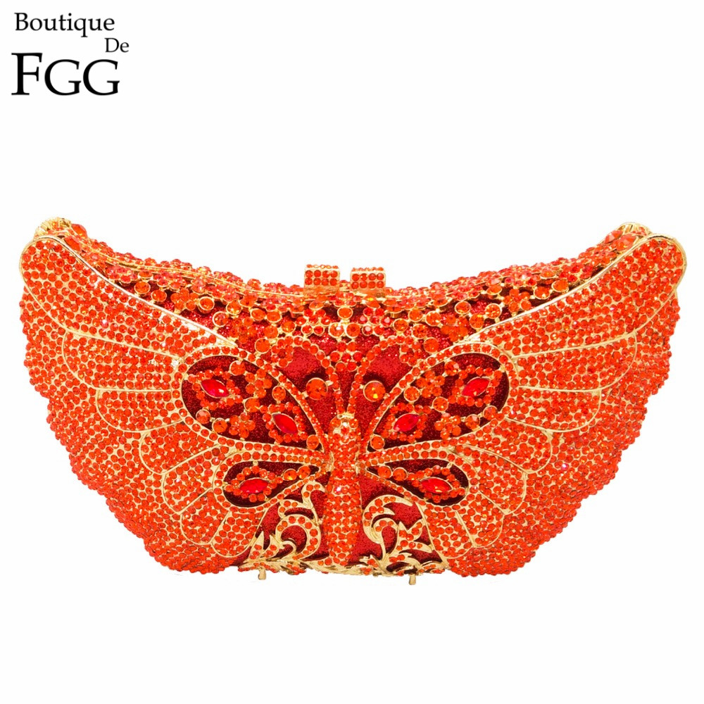 Women's Orange Crystal Rhinestones Animal Box Evening Clutches Wedding Party Cocktail Butterfly Handbag Clutch Shoulder Bag-in Top-Handle Bags from Luggage & Bags    1