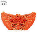 Women's Orange Crystal Rhinestones Animal Box Evening Clutches Wedding Party Cocktail Butterfly Handbag Clutch Shoulder Bag