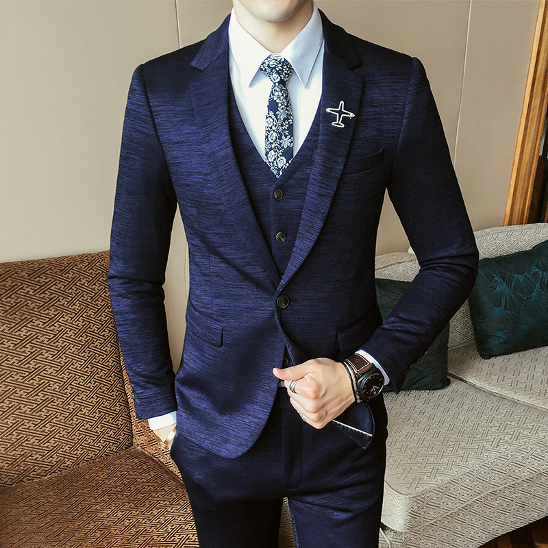 2019 Luxury New Arrival Autumn Formal Mens Suits Wedding Groom Costume Homme Slim Fit British Decent Dinner Suit Grey Blue