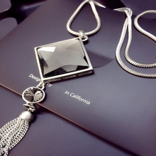 BYSPT Square Crystal Pendant Long Tassel Necklace Women Fashion Jewelry Wholesale Silver Chain Long Necklace Sweater Chain