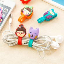 5pcs/lot Random Cute Animals Cable Winder Clip Earphone Winder Earbud Silicone Cable Cord Holder Roma Buckle Type Free shipping(China)