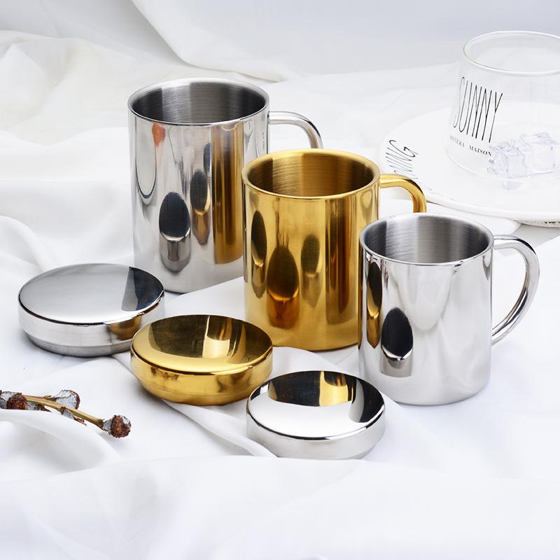 High Quality 220/260/400ml Classic Mug Stainless Steel Coffee Mugs with Handgrop Tea Milk Portable Cup Mug 2 Colors Best Gift
