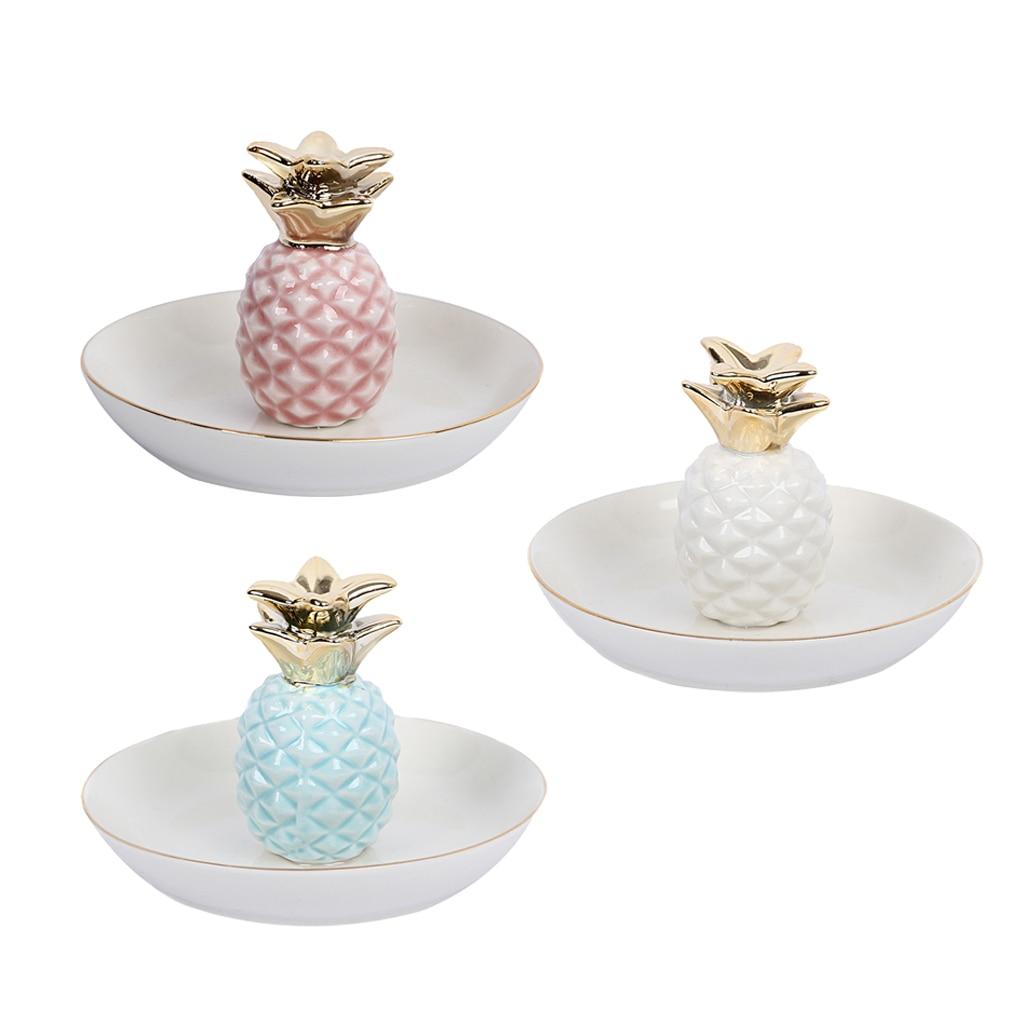 White Porcelain Ceramic with Gold Edge Tray Ananas Dish Key Trinkets Ring Holder Room Decor Plate room decor наклейка интерьерная детские картинки грибок улитка цветок 13 шт