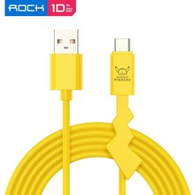 Rock USB C Cable Lighting Cable Pokemon Detective Pikachu Derivative Charger Cord Fast Charging Cord For Samsung A50 For iPhone