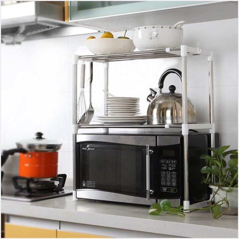 Adjustable:  1pcs Stainless Steel Adjustable Multifunctional Microwave Oven Shelf Rack Standing Type Double Kitchen Storage Holders - Martin's & Co