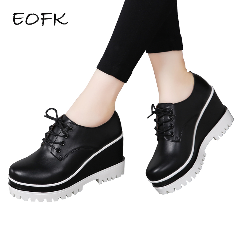 EOFK Women Black Genuine leather High Wedges Shoes Woman Pumps Lady Casual Fashion Autumn Lace Up Height 8.5 cm Platform Shoes fashion genuine leather shoes 2017 autumn women wedges shoes lace up high heel platforms casual shoes pumps elevator women shoes