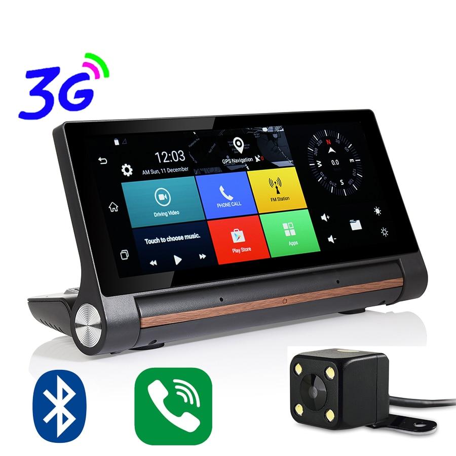 Udricare 7 inch 3G WiFi Bluetooth GPS DVR Android 5.0 Dual Lens Video Recorder FHD 1080P Dashboard SIM Card GPS Rear View DVR