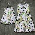 Марка цветочные принты плиссированные высокая талия Рукавов сарафаны мать и дочь платья женщин платья девушки семья посмотрите clothing