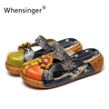 Whensinger-2017 sapatos sandálias & flip flops couro genuíno do sexo feminino das mulheres de verão floral interior costura moda 0933-31