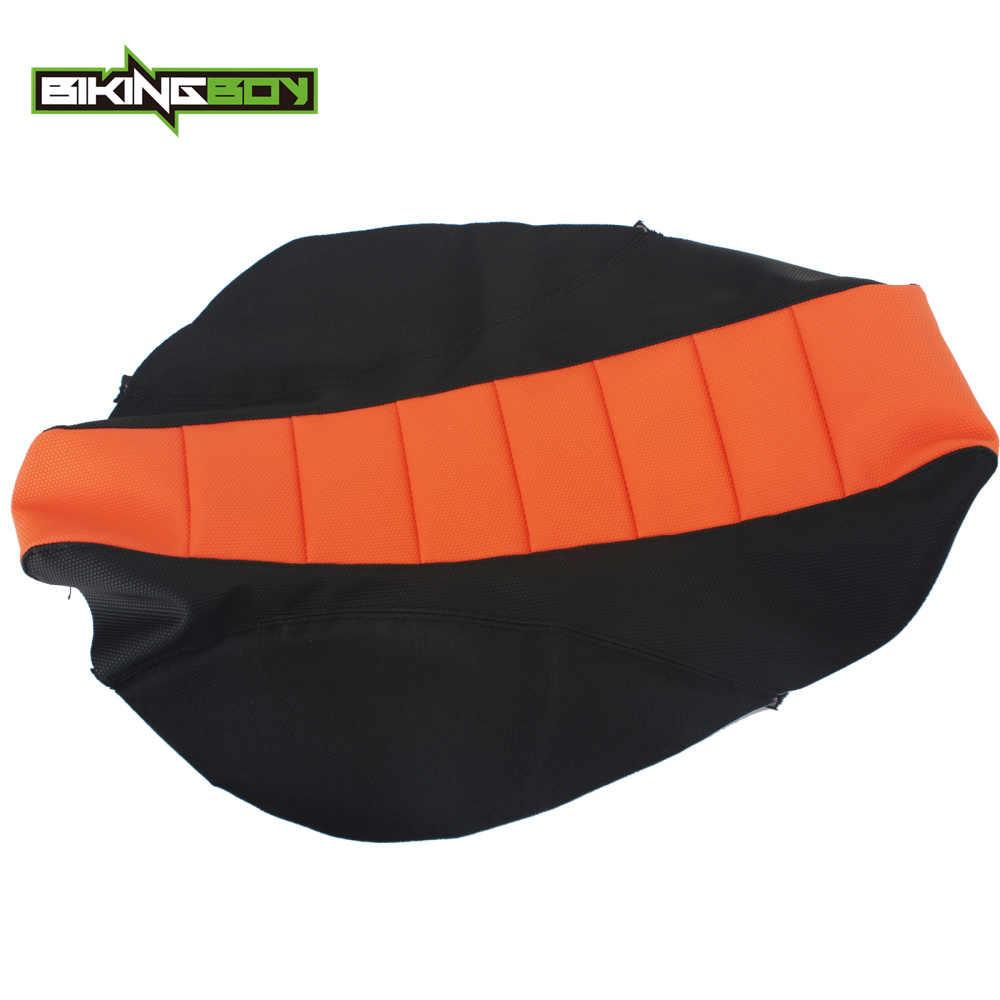 BIKINGBOY naranja negro motocicleta Motocross Offroad acanalado de agarre suave cubierta de asiento para KTM SX 85 SX85 04 05 06 07 08 09 10 11 12