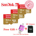 SanDisk Extreme memory card 32GB 16GB 64GB Micro SD SDHC Class 10 U3 level 90MB/S micro SD TF + 2 in 1 OTG Micro usb Card Reader