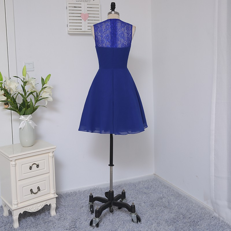A-line Scoop Short Mini Royal Blue Chiffon Lace Bridesmaid Dress