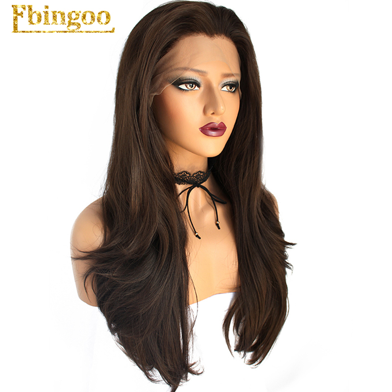Ebingoo Widow Peak Dark Brown Long Natural Wave Full Hair Wigs High Temperatrure Fiber Synthetic Lace