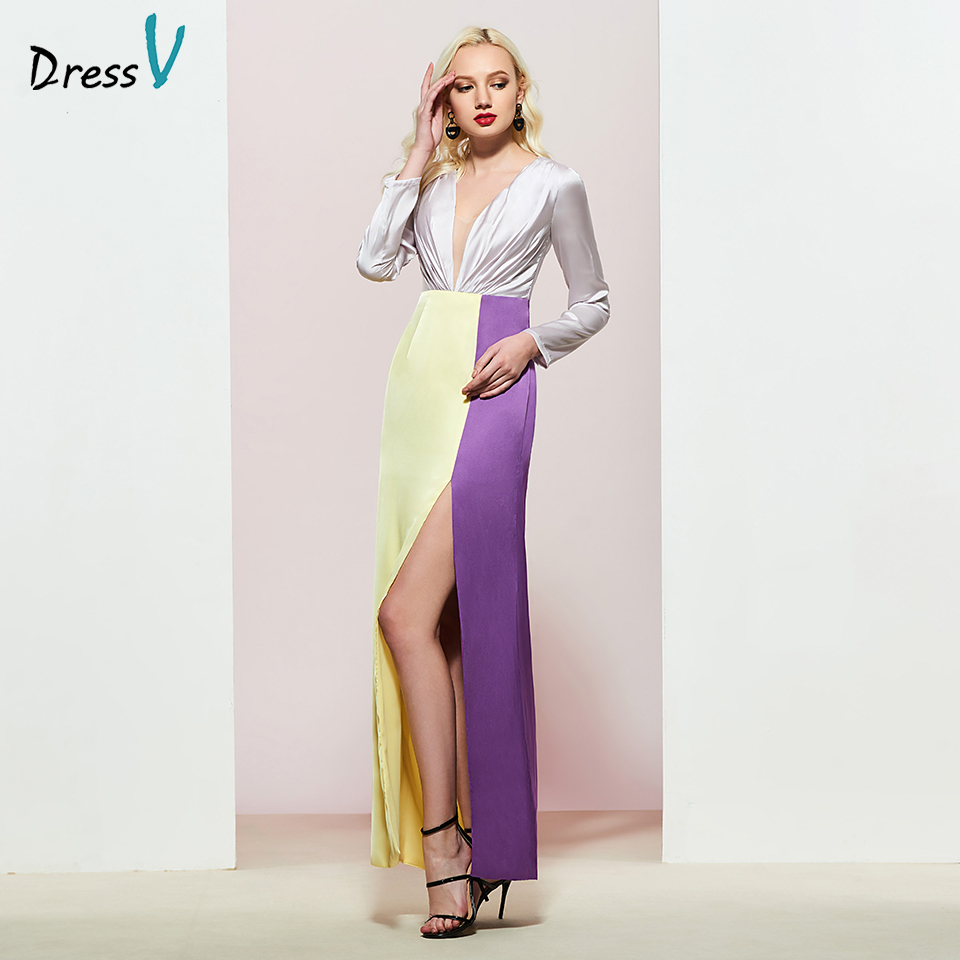 Dressv Daffodil Pleats Evening Dress Sheath Elegant Long Sleeves Floor-length Wedding Party Formal Dress Evening Dresses