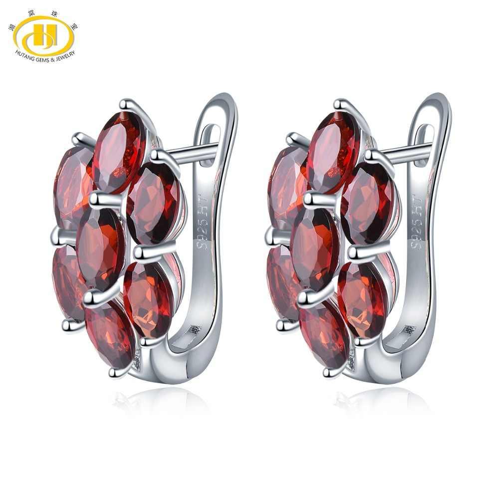 Round Cut Garnet 2nd Anniversary Gift Natural GARNET EARRINGS in 925 Sterling Silver RED Garnet Drop Earrings Garnet Dangles
