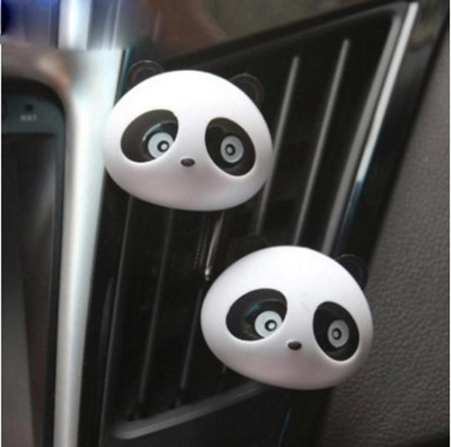 New 2 x Panda Cute Car Perfume Air Freshener Auto Accessory For Car Plastic Black approx 45*36*34mm cute attractive Z1202