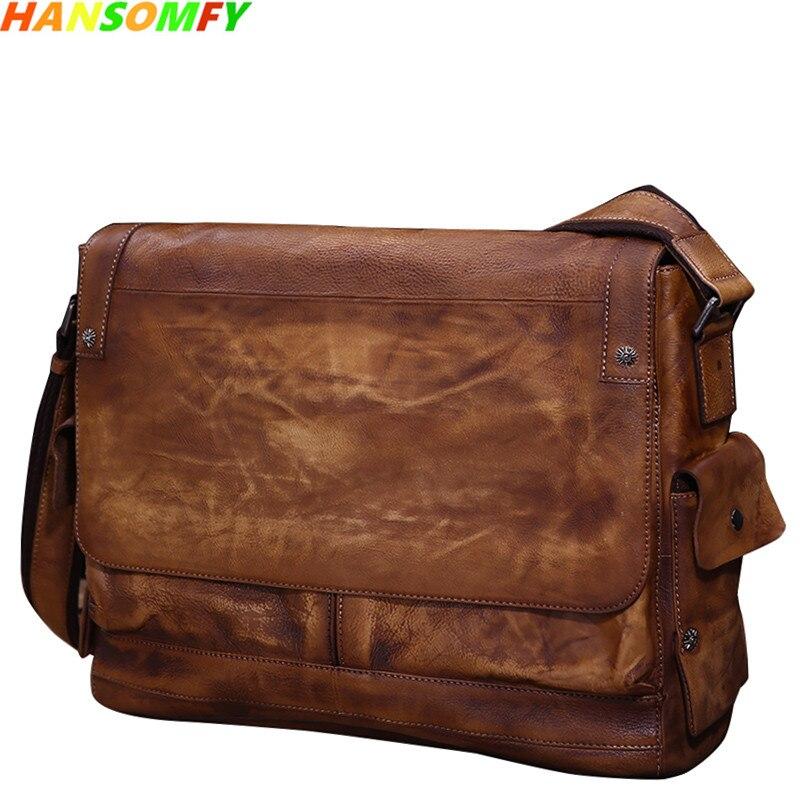 Деловая Повседневная кожаная мужская сумка через плечо с растительным дублением первый слой кожаная сумка через плечо ретро сумка почталь