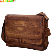 Business casual leather men's bag cross section vegetable tanned first layer leather shoulder bag retro Messenger bags mail 15