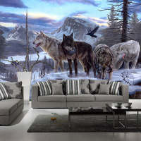 Modern Home Improvement Custom 3D Photo Wallpapers Lifelike Animals Snowy Wolf Backdrop Murals For Study Room