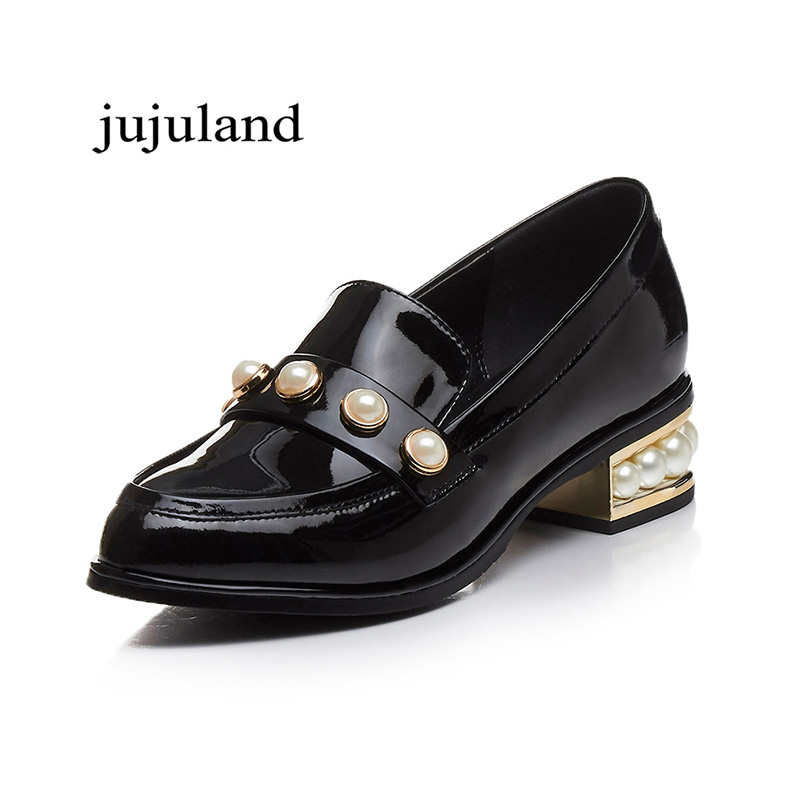 Spring/Autumn Women Shoes Pumps Genuine Leather Med Heels Round Toe Casual Fashion Concise Slip-On Shallow String Bead Pearl 2017 shoes women med heels tassel slip on women pumps solid round toe high quality loafers preppy style lady casual shoes 17