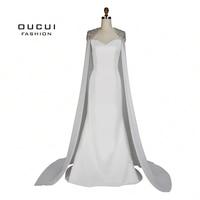 Real Photos Chiffon Cloak Beaded Handmade Long Evening Dress Ivory CoLor Sweetheart Mermaid Stain Formal OL103072
