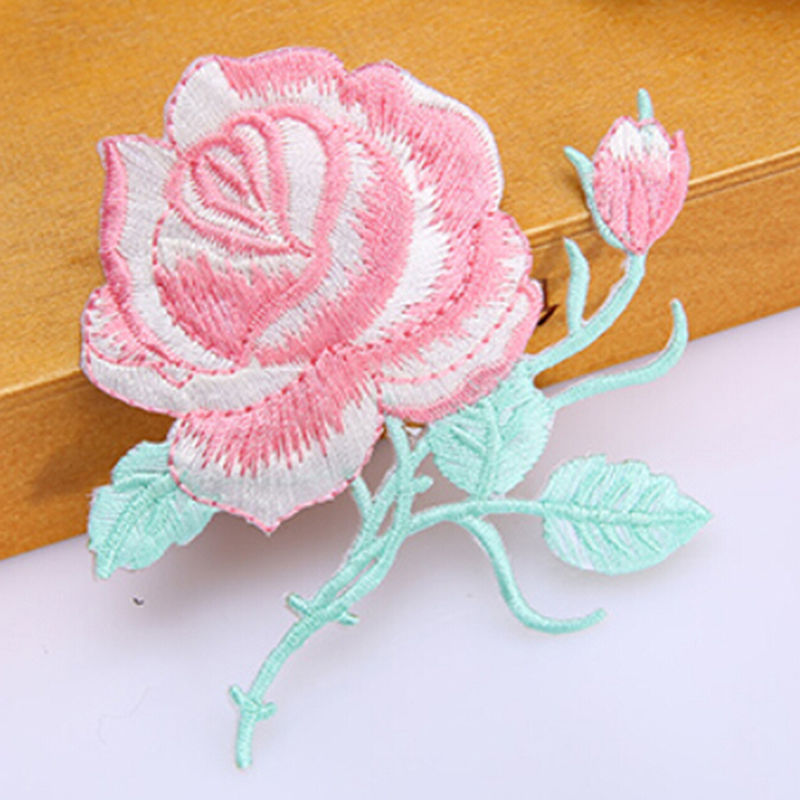 1 Pcs New Sewing Repair Embroidered Rose Flower Leaves Embroidery