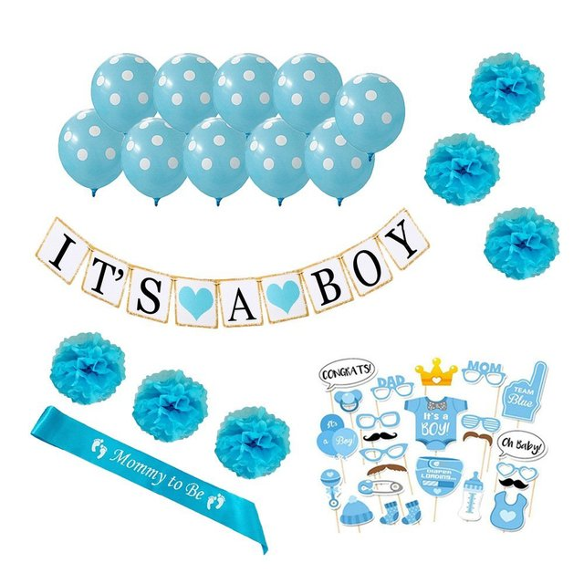 Baby Shower Decorations Kit Its A Boy Banner 1st Birthday Party Supplies For Kids Decoration Photo Booth Props